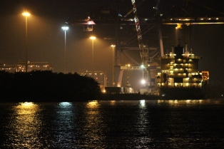 continer port at night Kochi